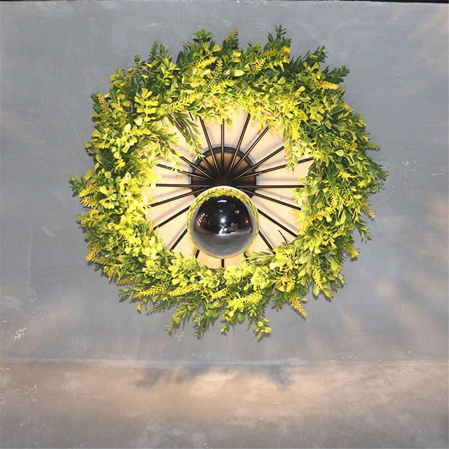 Art déco plantes artificielles anneau vintage applique pour salle à manger bar café loft décor mur LED lumière design créatif escalier lumière - 2