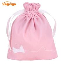 Vogvigo Pink Portable Drawstring Storage Bags Girls Cosmetic Women Cotton Travel Pouch Clothes handbag Makeup bag
