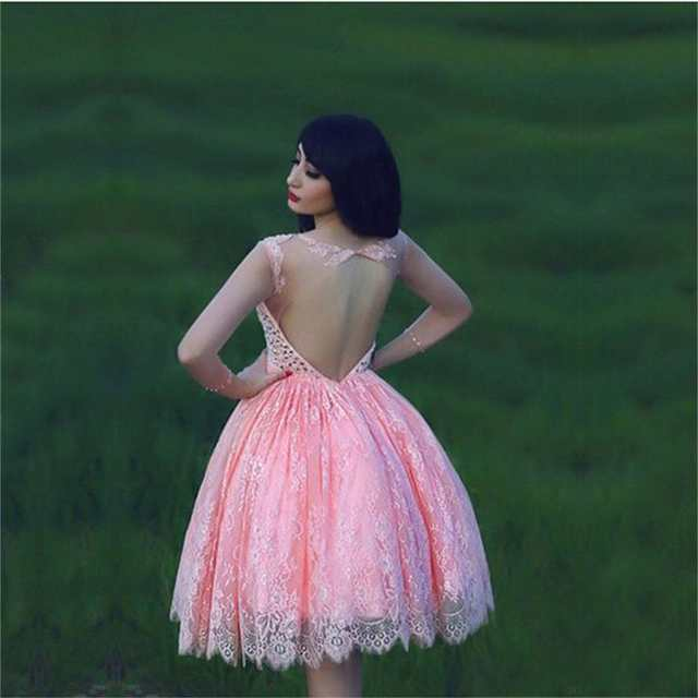 1f2058304b placeholder Pink Sheer Long Sleeves Homecoming Dresses Hot Lace with  Applique Crystals Knee Length A-line