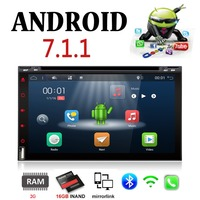 2 DIN 6.95 Car Multimedia Player Android 7.1 Quad Core 1.2GHz Bluetooth gps navigation Wifi+RDS With dvd radio