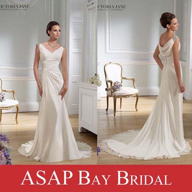 Cowl Neck Wedding Dress: Sheath Beaded V Neck Cowl Back Chiffon Grecian Style