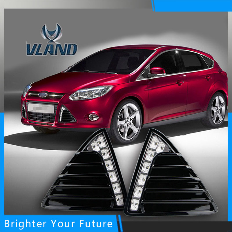 Car Accessories Waterproof Daytime Running Fog Light Lamp DRL Yellow Turn Signals for Ford Focus 2012-2015 for ford fusion 2013 16 guiding light daytime running lights drl turn signals 2x