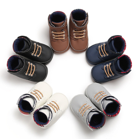 New male baby high tube cute soft bottom PU leather newborn baby first Walkers Baby Shoes child boy shoes non-slip baby shoes Karachi