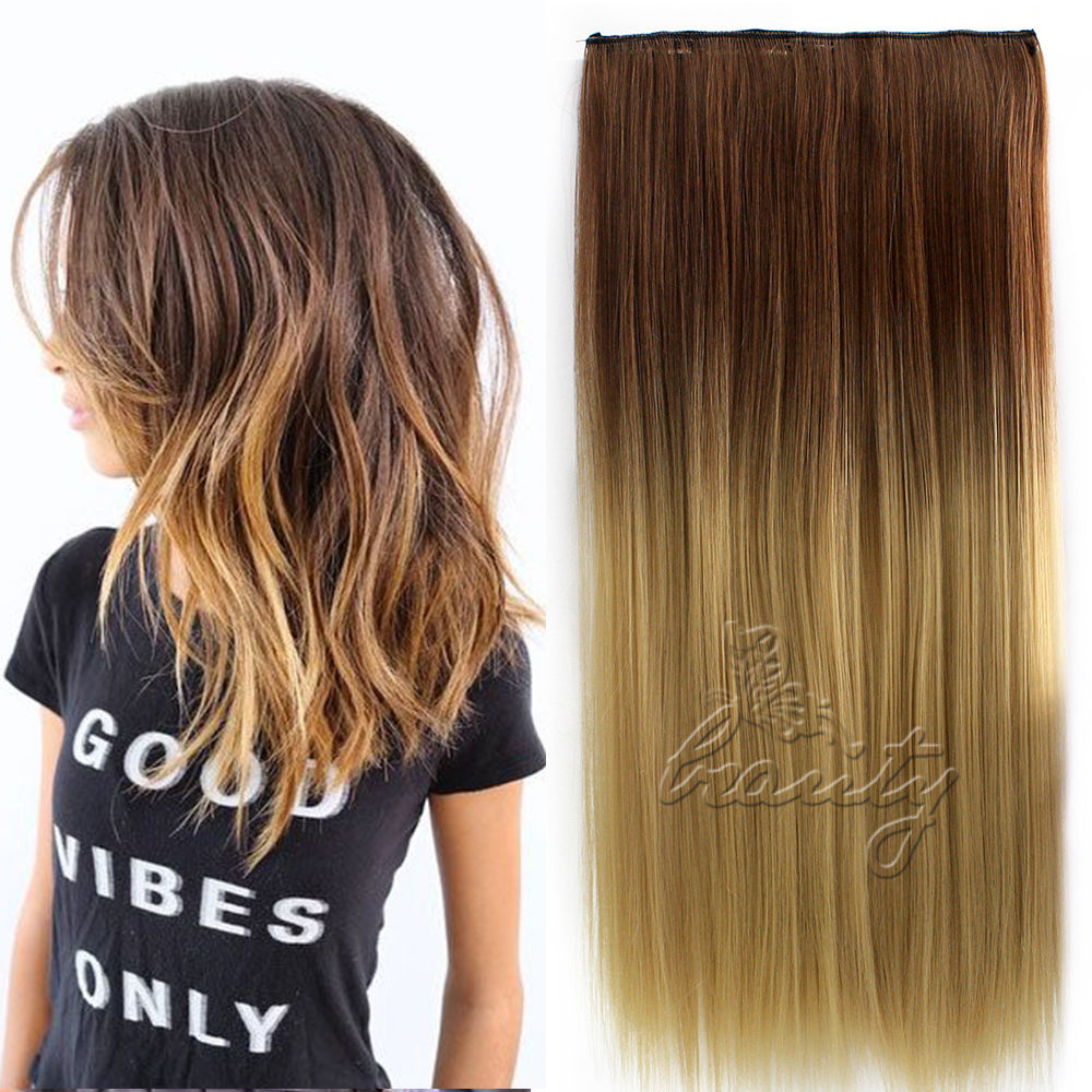24 60cm One Piece 5 Clip In Hair Extensions Straight Ombre Color