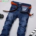 Горячая продажа, Мода Мужчин Джинсы Новое Прибытие Дизайн Slim Fit Мода Джинсы Для Мужчин Высокое Качество Синий Молния Прямые джинсы