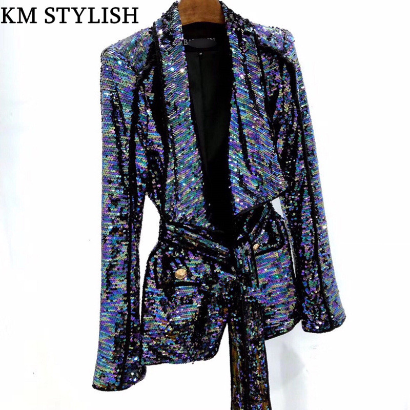 New Lapel Belt Waist Heavy Industry Sequins Fashion Jacket Shoulder Magic Color Belt Cardigan Women Blazer With Pockets