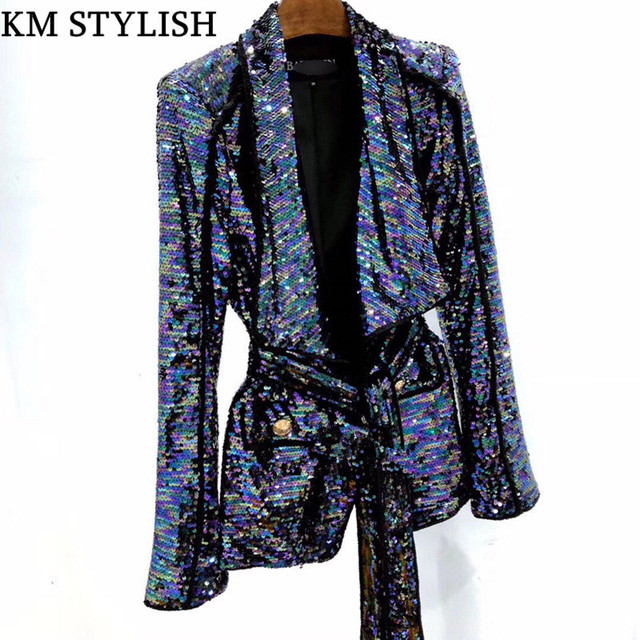 New Lapel Belt Waist Heavy Industry Sequins Fashion Jacket Shoulder Magic Color Belt Cardigan Women Blazer With Pockets
