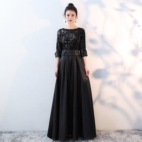 DEERVEADO ТРАПЕЦИЕВИДНОЕ Золотое вечернее платье с блестками, длинное вечернее платье для выпускного вечера, вечернее платье, вечернее платье, женское элегантное платье M254 - Цвет: Черный