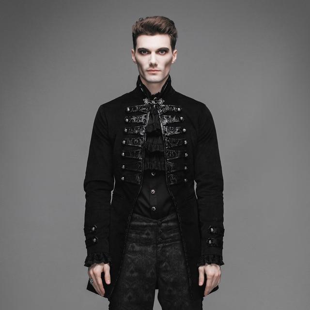47c2fa2f3a642 Devil Fashion Gothic Vintage Noble Men Victorian Jackets Steampunk Black  Flocking Pattern Single Button Coats Casual