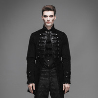 Devil Fashion Gothic Vintage Noble Men Victorian Jackets Steampunk Black Flocking Pattern Single Button Coats Casual Outerwear