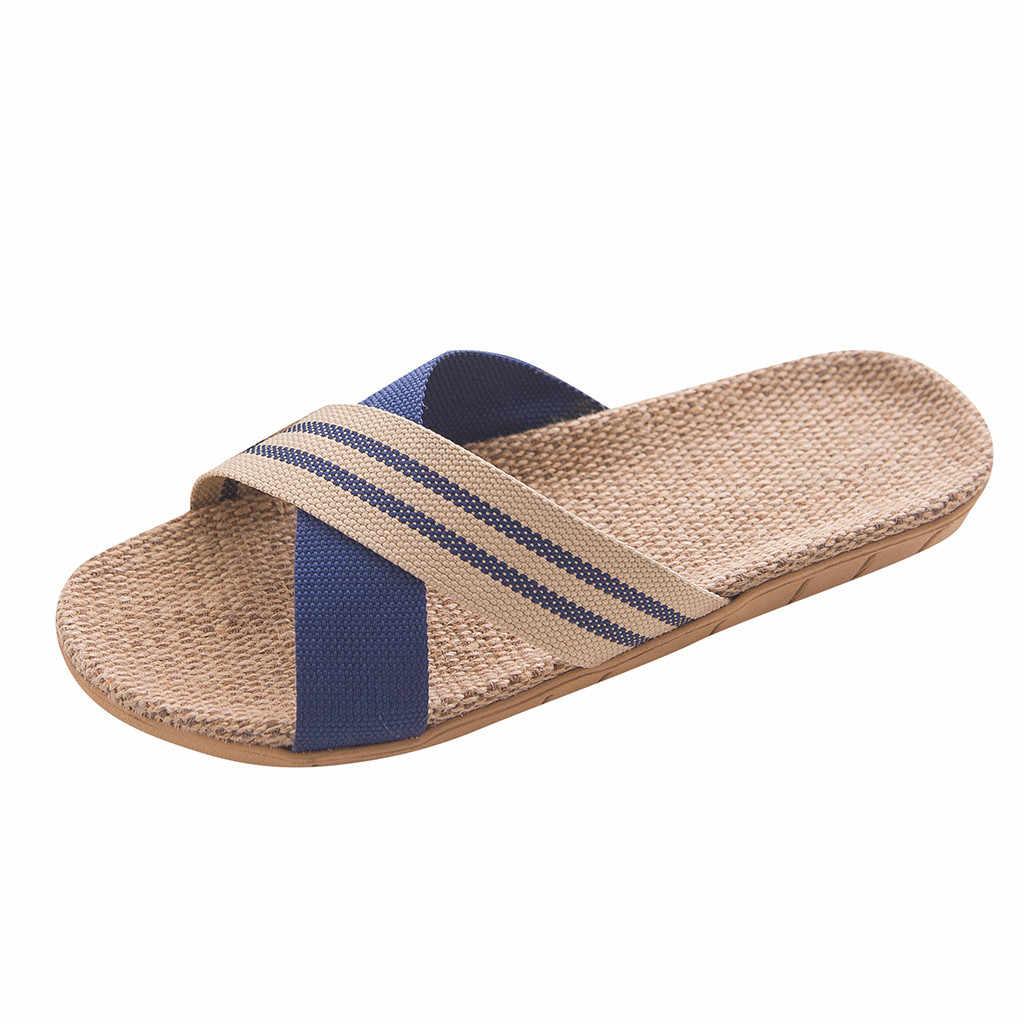 Erkek Moda kaymaz Keten Ev Kapalı Açık Ayak düz ayakkabı Plaj Açık Havada Terlik Yumuşak Terlik Parmak Arası Terlik EVA zapatos de los