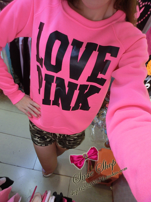 Pullover Vs Pullover Hot Sale 2015 Fashion Sweet Sexy Neon Pink Love Pink Plus