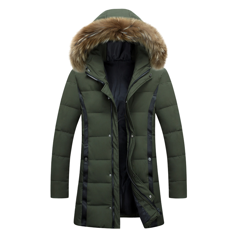 b New Winter Jacket Men Thicken Warm   Parkas   Casual Long Outwear Hooded Collar Jackets and Coats Men veste homme