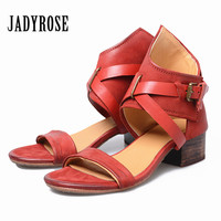 Jady Rose Retro Red Genuine Leather Women Sandals Chunky High Heel Sandal Gladiator Prom Dress Shoes