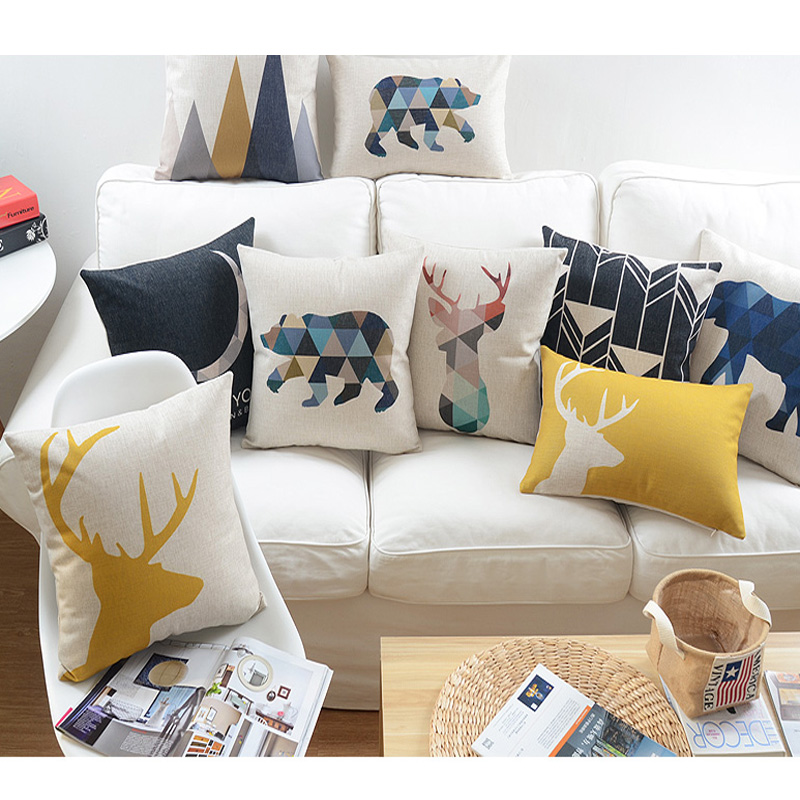 happy deer animals cushion cute cartoon home pillow decoration childlike simplicity decorative. Black Bedroom Furniture Sets. Home Design Ideas