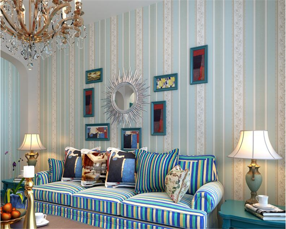 beibehang Mediterranean striped vintage non-woven papel de parede wallpaper gold living room sofa wall paper tv background blue недорого