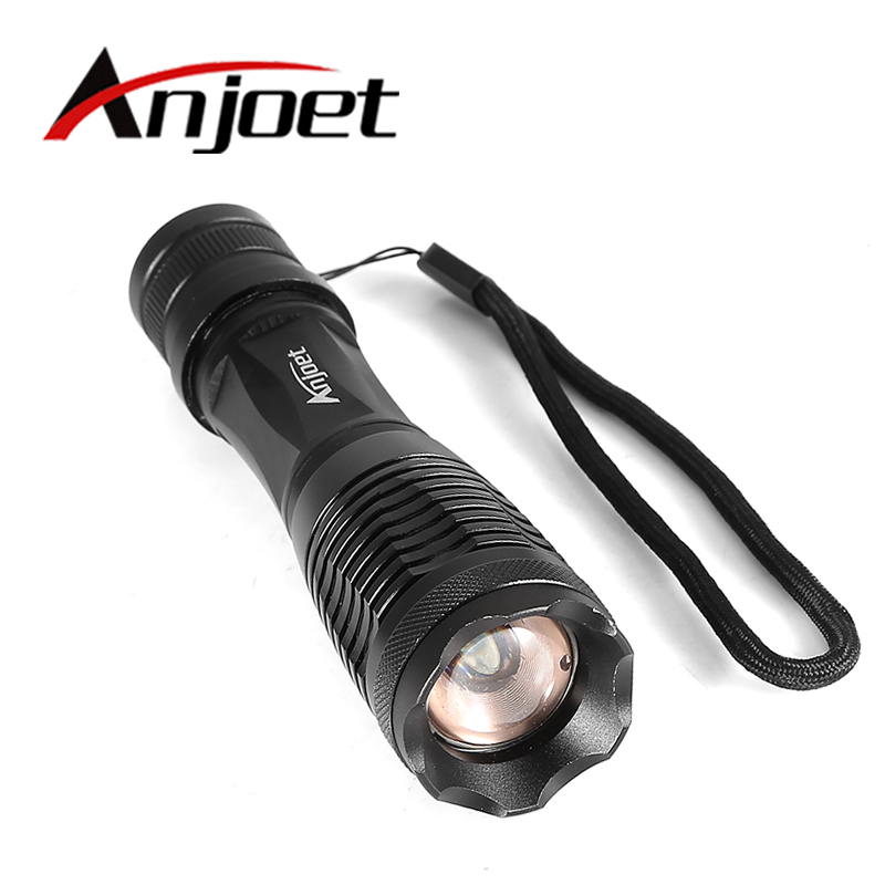 Anjoet E6 XM-L T6 2000LM Aluminum Waterproof Zoomable LED Flashlight Torch tactical light for 18650 Rechargeable Battery or AAA цена 2016