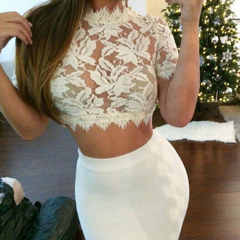 Fashion 2019 Sexy Crochet Lace Crop Top Women Short Sleeve Cropped Tank Sheer See Through Camisole Regata Feminina White Black цена 2017