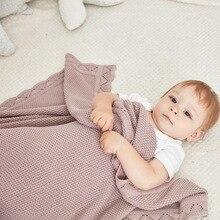 Örme dalga kenar popüler geri dönüşümlü bebek örgü battaniye kanepe atmak yatak yorgan çocuklar arka koltuk battaniye yenidoğan kundak