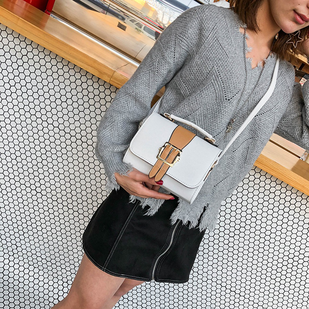 2018 Women Chains Casual Panelled Contrast Color Hasp Bag Lady PU Leather Messanger Bag Mini Flap Shoulder Bag