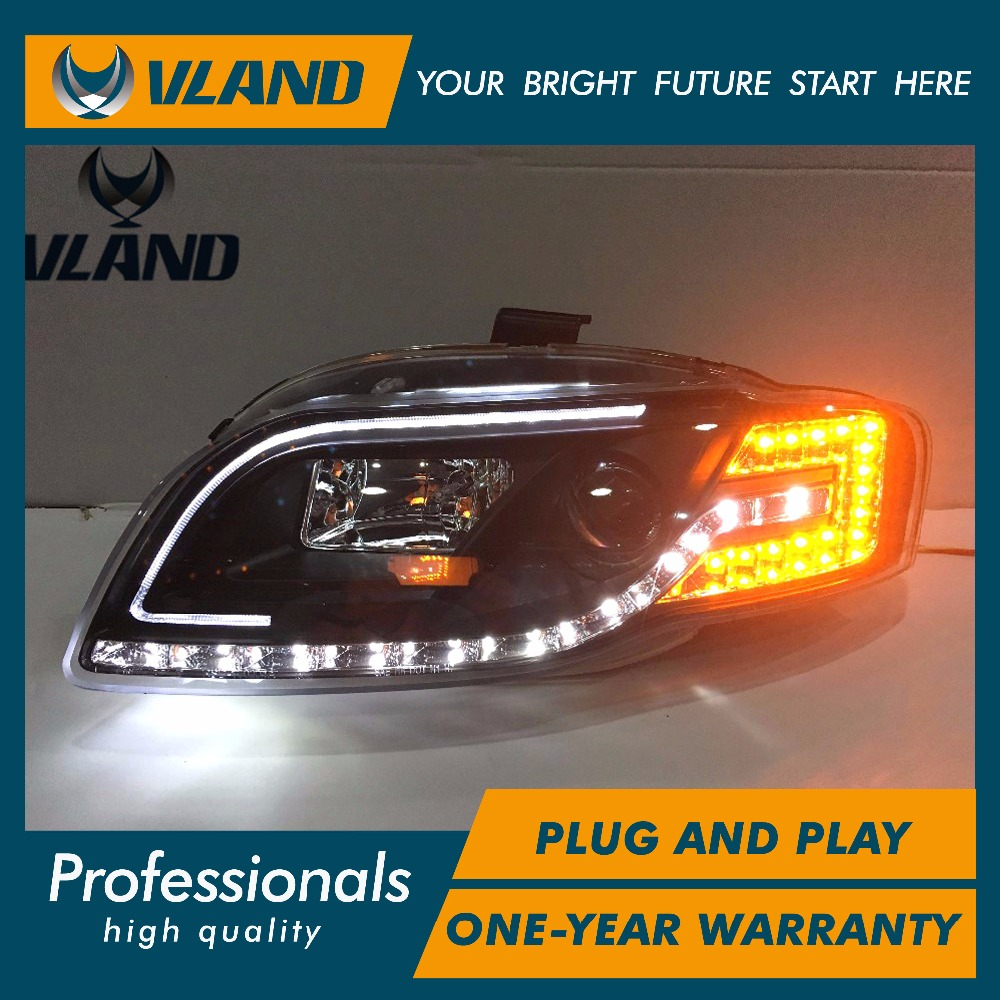 Free Shipping for VLAND Car Head Lamp For Audi for A4 B7 LED Headlight 2005 2008 Year HID Xenon lens LED DRL