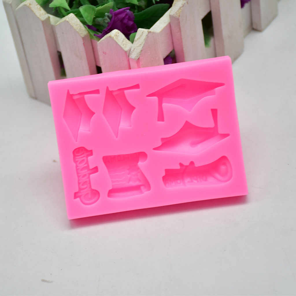 TENSKE 1PC Graduation Hat Cake Mould Non-toxic Pink Silicone Fondant Mold Cake Decor Chocolate Baking Mould Tool 13.5x19cm JULY1