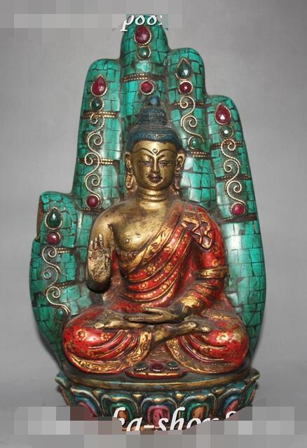 Tibet Turkuaz Mercan Bronz Gem Shakyamuni Sakyamuni Buda El Eller HeykeliTibet Turkuaz Mercan Bronz Gem Shakyamuni Sakyamuni Buda El Eller Heykeli