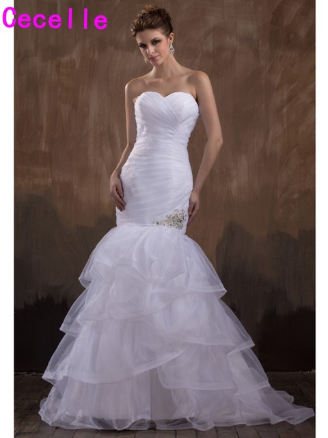 2017 Long Formal Mermaid Wedding Dresses White Pleated Tiered ...