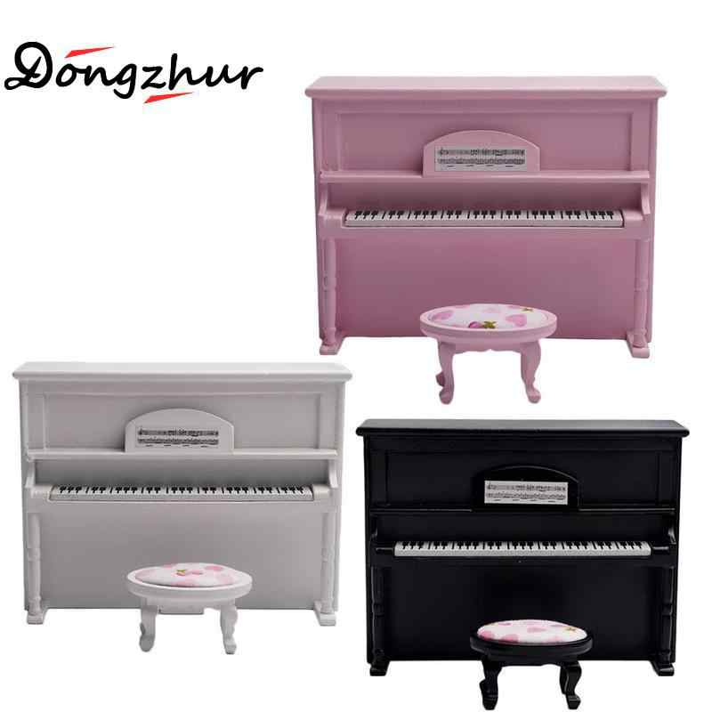 2pcs/set Miniature White Black Pink Piano+ Bench Birch Cloth Furniture Kits Home & Living For 1/12 Dollhouse Accessories Decor