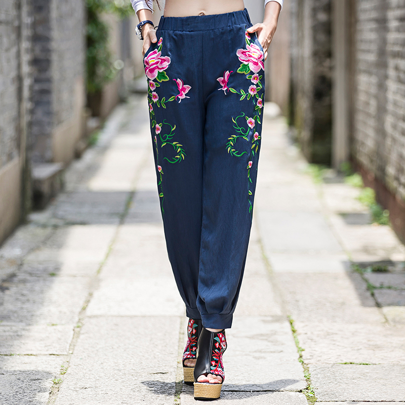 Women autumn spring ethnic grey black blue red floral embroidery harem   pants     capris     pant   trousers Traditional Chinese clothing