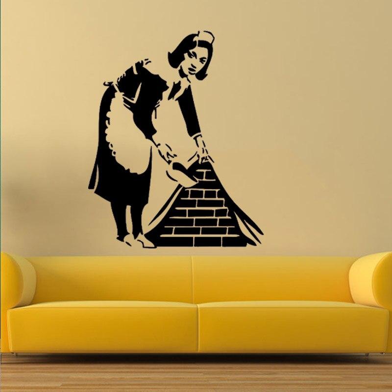 Banksy French maid Vinyl Wall Decal Sticker Street Art Graffiti ...