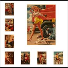 Caja de teléfono roja Sexy Girl Pin-Up USSR Vintage soviético Retro lienzo pintura póster DIY pared hogar carteles para Bar decoración del hogar regalo