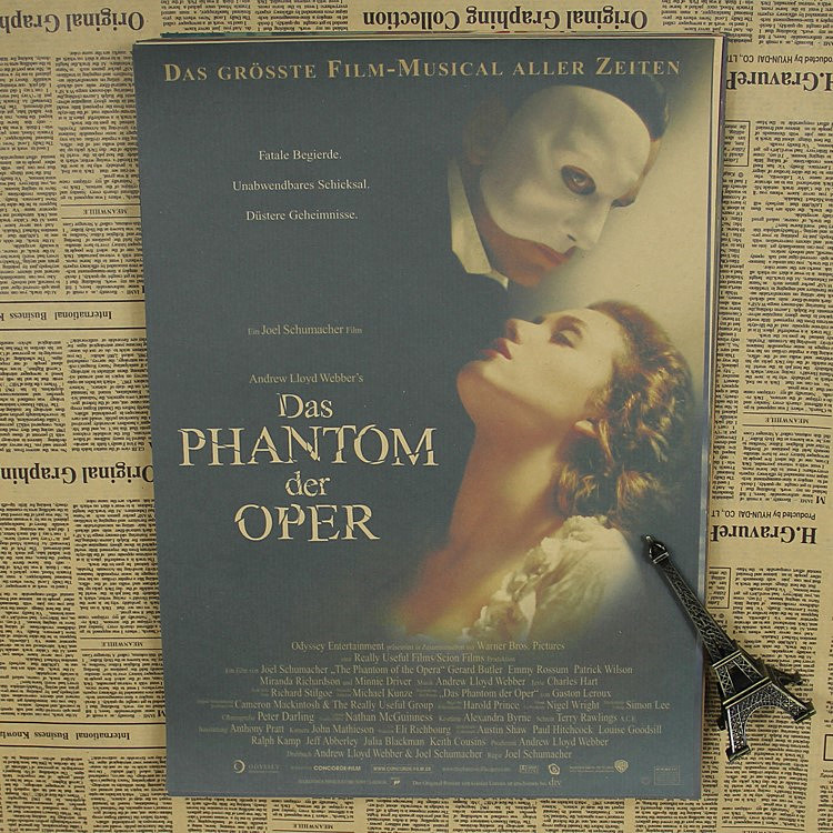 The phantom of the opera love movie poster retro theatre opera classic musical Webb kraft paper ...