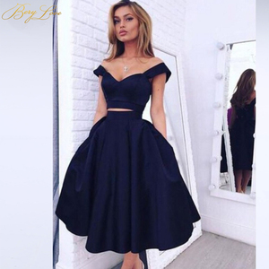 Image 1 - Eenvoudige Knielengte Homecoming Dress 2020 Twee Stukken Navy Satijn Homecoming Prom Jurk Afstuderen Jurk Vestido De Formatura