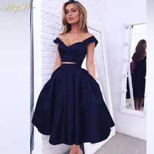 Simple Knee Length Homecoming Dress 2019 Two Pieces Navy Satin Gown Prom Graduation vestido de formatura