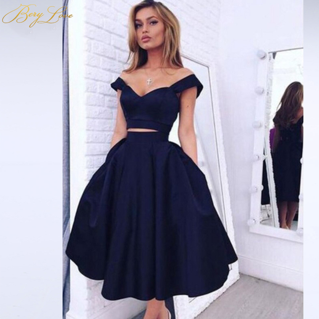 Simple Knee Length Homecoming Dress 2020 Two Pieces Navy Satin Homecoming Gown Prom Dress Graduation Dress vestido de formatura