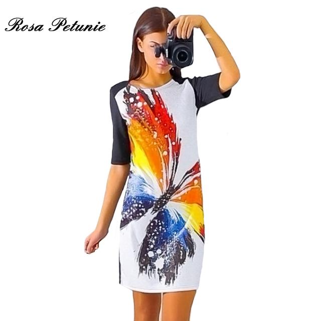 2017 Women Dress Vintage Printed Half Sleeve Slim Party Dresses Vestidos Ladies Mini Loose Summer Dress