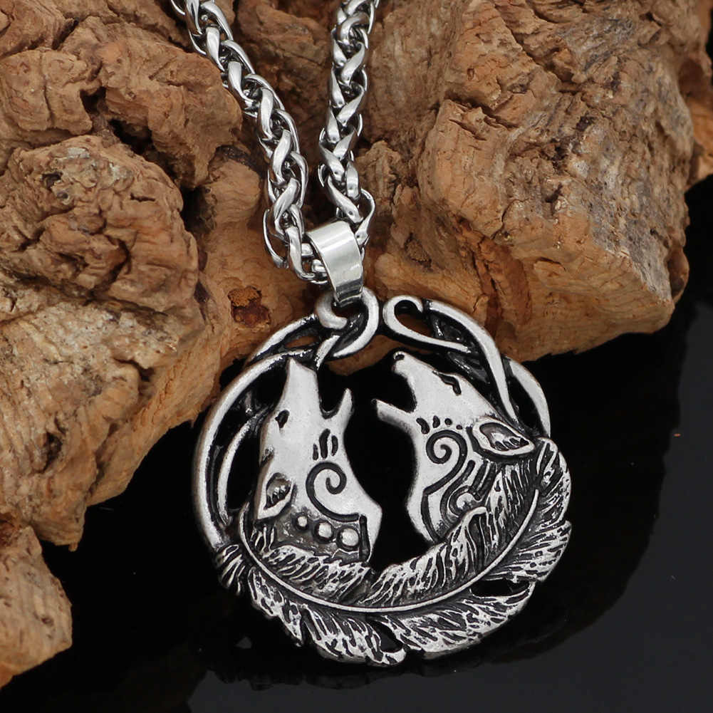 Nordic Viking Norse odin wolf  Geri and Freki mulet pendant necklace valknut gift bag