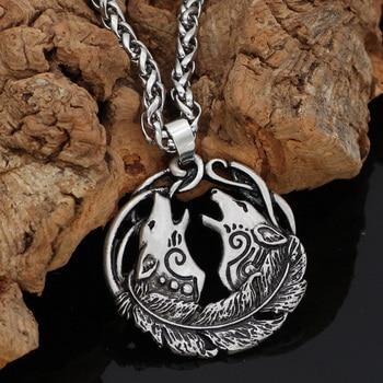 Viking Norse Wolf Head Geri And Freki Mulet Pendant Necklace  Viking Necklace