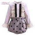 Pettigirl polka dot bebê conjunto roupa da menina com blusa de algodão dot bloomers roupas causais crianças outfits criança g-dmcs908-912