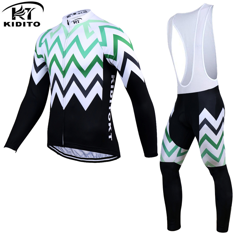 ФОТО KIDITOKT  Long Sleeve Winter Thermal Fleece Cycling Jersey Set MTB Bike Clothes Maillot Ropa Ciclismo Invierno Bicycle Clothing