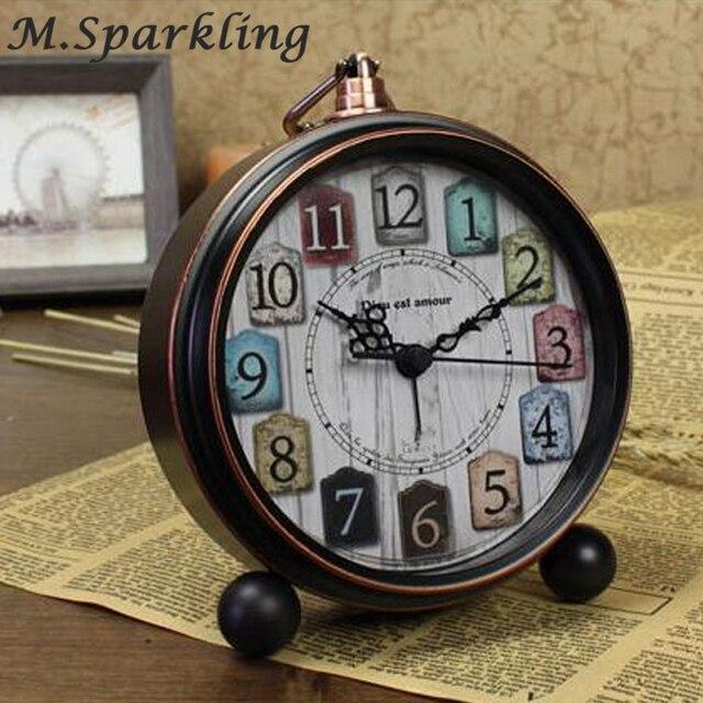 High Grade Vintage Alarm Clock Study Room Desk Table Clock Antique Bedside  Wake Up Clock Metal