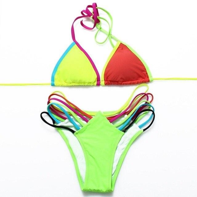 Neon Color Patchwork Micro Bikini Set 2
