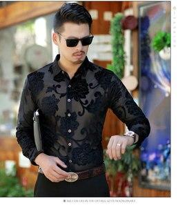Image 3 - Luksusowa przezroczysta koszula męska kwiatowy haft koronkowa koszula dla mężczyzn seksowna suknia prześwitująca koszule męskie klub na imprezę bal koszulka