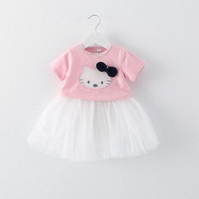 Nuevo 0-24 m Baby Girl Vestidos de Verano Estilo Casual Arco de Encaje vestido lindo del gato Ropa de Los Cabritos Vestidos cordón de la Gasa Ropa de Bebes vestido