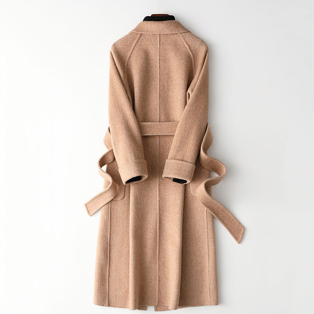 High quality double-faced cashmere coat women's long trench coat 2019 new wool blends outerwear female winter woolen windbreak 2