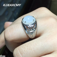 KJJEAXCMY Fine Jewelry And Tian Baiyu Men S RING 925 Sterling Silver Live Hot Natural Color