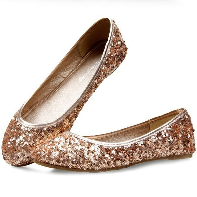 53445257d9f3 Plus size35-41 2013 summer luxury ballerina girls gold silver glitter  ballet flats womens ladies dress casual princess shoes