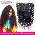 Afro Deep Wave Clip In Human Hair Extensions 10Pcs/Set Natural Deep Wave Clip In Hair Extensions Malaysian Clip Ins Human Hair
