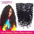 Afro Profunda Clipe Onda Em Extensões Do Cabelo Humano 10 Pçs/set Natural Grampo Em Extensões Do Cabelo Onda profunda Malaio Clipe Ins Humanos cabelo